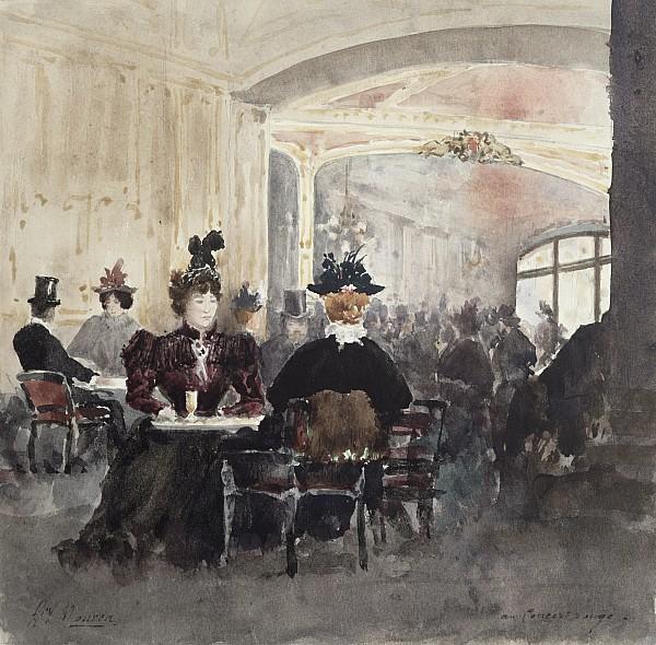 Interior Of The Concert Rouge Print by Henri Laurent Mouren