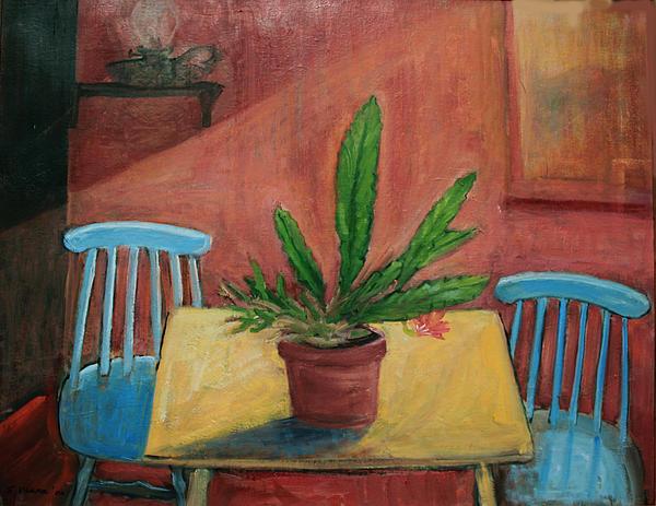 Interior With Blue Chairs Print by Ethel Vrana