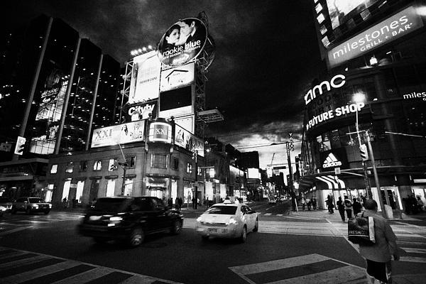 Intersection Of Yonge And Dundas At Night Yonge-dundas Square Toronto Ontario Canada Print by Joe Fox