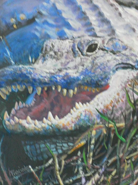 Into The Face Of An Ancient Preditor Print by Pamela Preciado