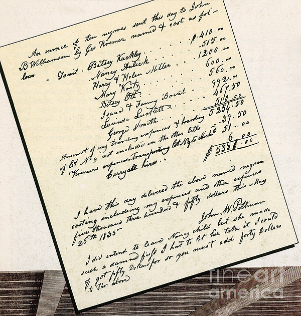 Invoice Of A Sale Of Black Slaves Print by Photo Researchers