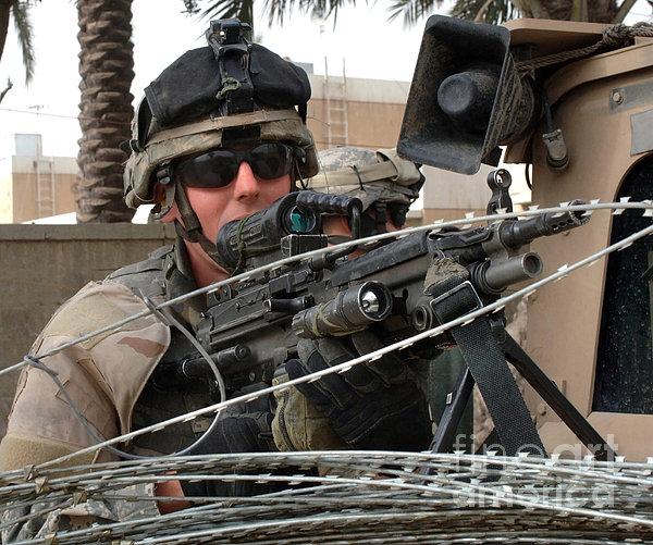 Iraqi And U.s. Soldiers Patrol The Al Print by Stocktrek Images