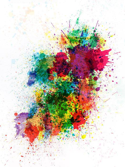 Ireland Map Paint Splashes Print by Michael Tompsett