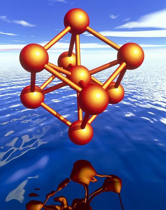 Iron Molecule Over Water Print by Pasieka