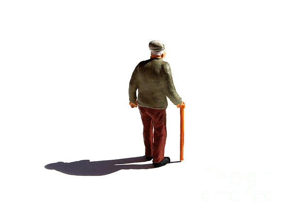 Isolated Old Man. Print by Bernard Jaubert