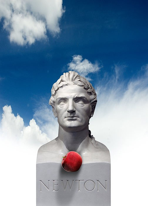 Issac Newton And The Apple, Artwork Print by Victor Habbick Visions