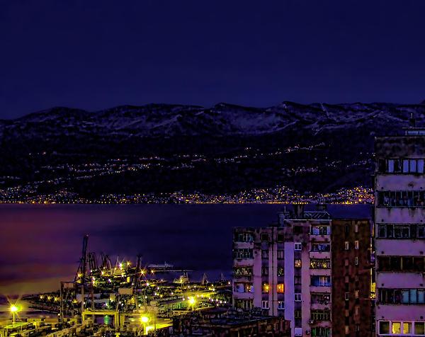 Istrian Riviera At Night Print by Jasna Buncic