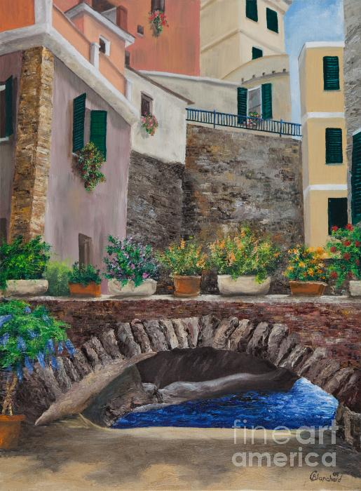 Italian Arched Bridge With Flower Pots Print by Charlotte Blanchard
