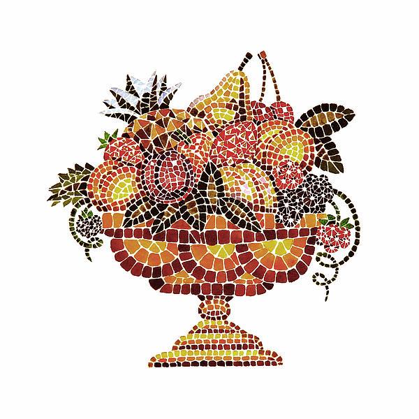 Italian Mosaic Vase With Fruits Print by Irina Sztukowski