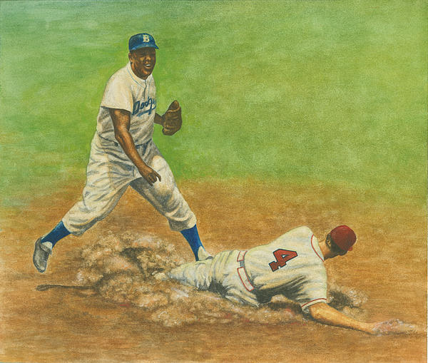 Jackie Robinson Turning Two Print by Robert Casilla