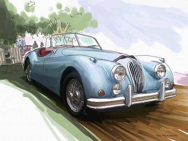 Jaguar X K 140 Print by RG McMahon