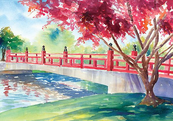 Japanese Bridge Print by Denise Schiber
