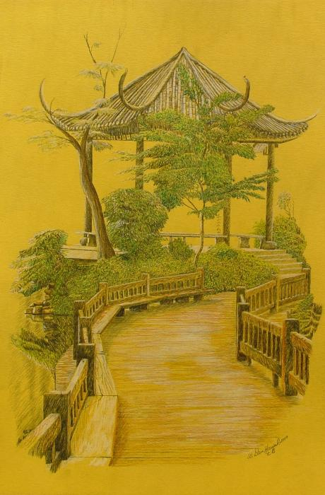 Japanese Garden Drawing