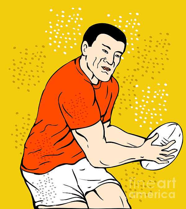 Japanese Rugby Player Passing Ball Print by Aloysius Patrimonio