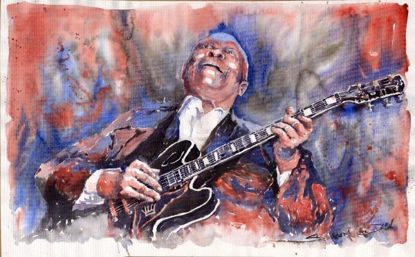 Jazz B B King 05 Red A Print by Yuriy  Shevchuk