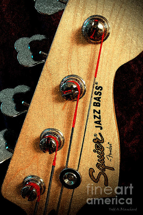 Jazz Bass Headstock Print by Todd A Blanchard