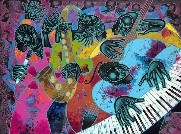 Jazz On Ogontz Ave. Print by Larry Poncho Brown
