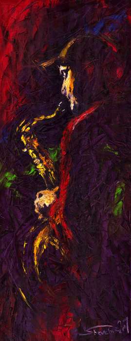 Jazz Red Saxophonist Print by Yuriy  Shevchuk