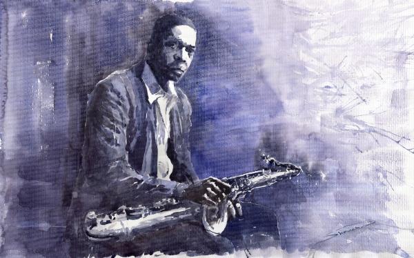 Jazz Saxophonist John Coltrane 03 Print by Yuriy  Shevchuk