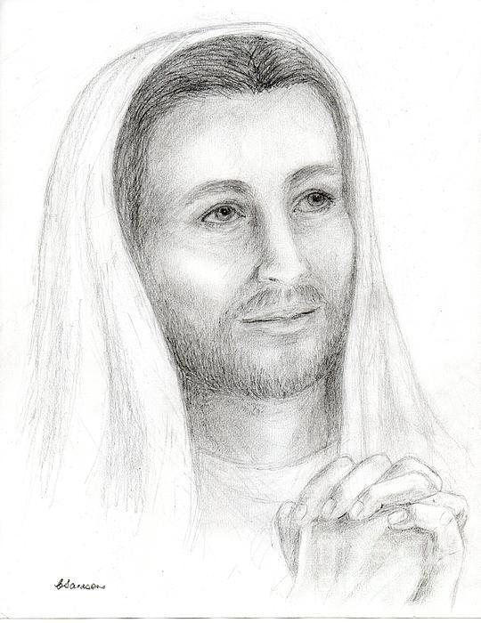 Jc2 - Jesus Praying Print by Cathy Samson