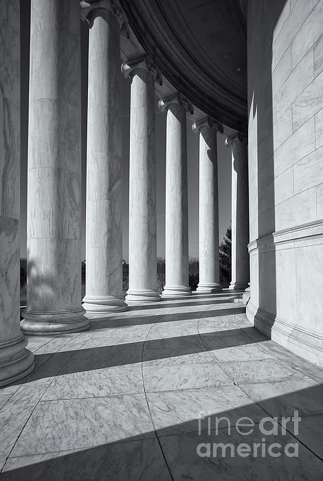 Jefferson Memorial Columns And Shadows Print by Clarence Holmes