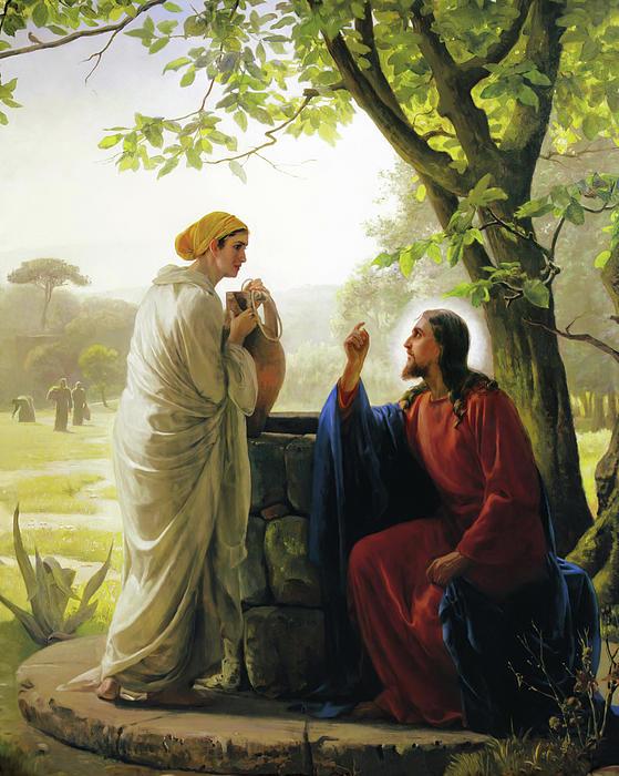 Jesus And The Samaritan Woman Print by Carl Bloch