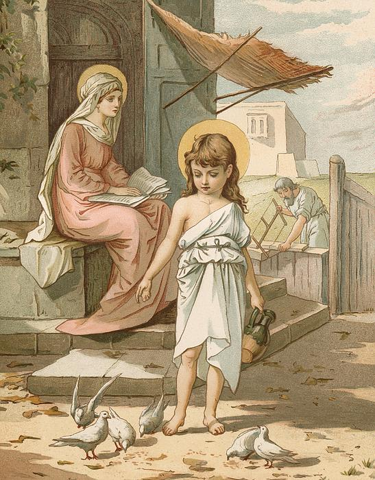 Jesus As A Boy Playing With Doves Print by John Lawson