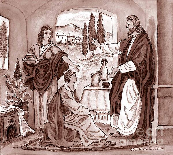 Jesus At The House Of Mary And Martha Print by Norma Boeckler