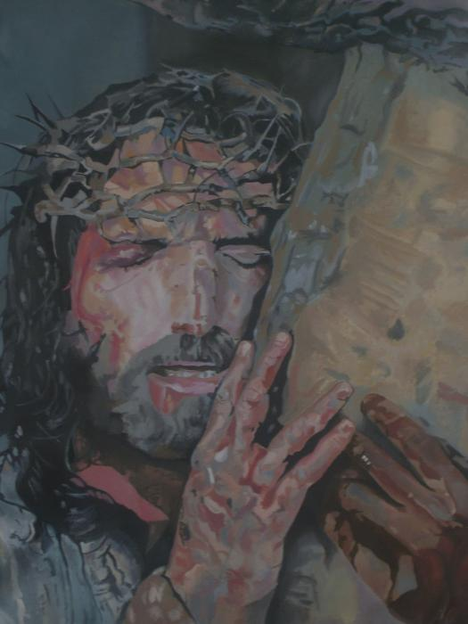Jesus Carrying The Cross By Bennie Parker
