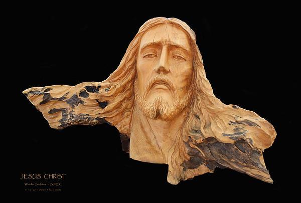 Jesus Christ Wooden Sculpture -  Four Print by Carl Deaville