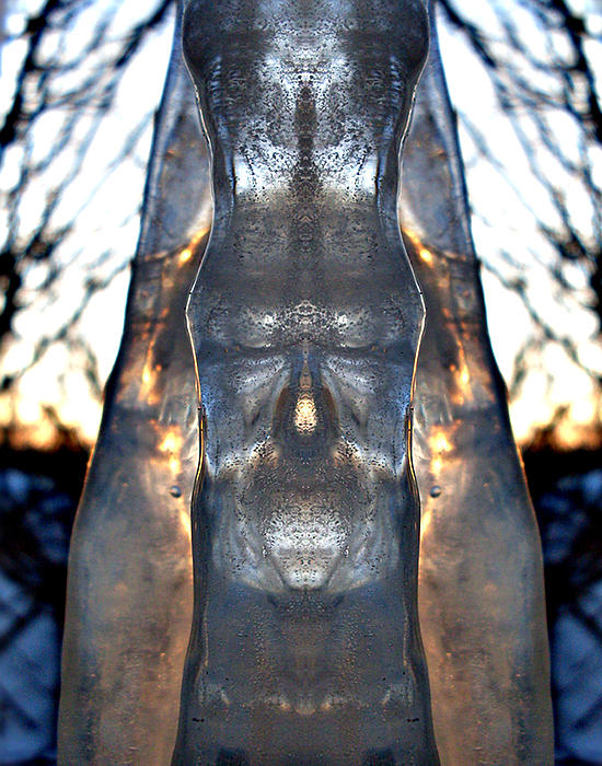 Jesus In An Icicle Print by Wesley Hahn