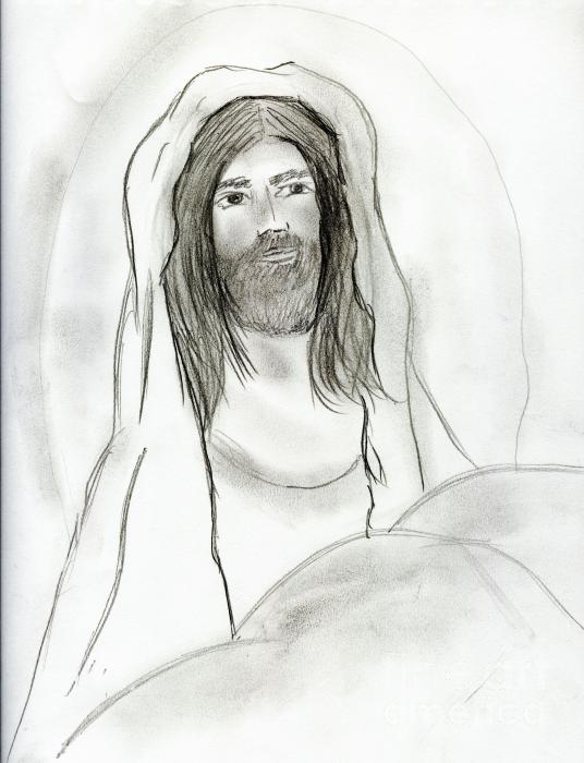 Jesus In Cave Drawing