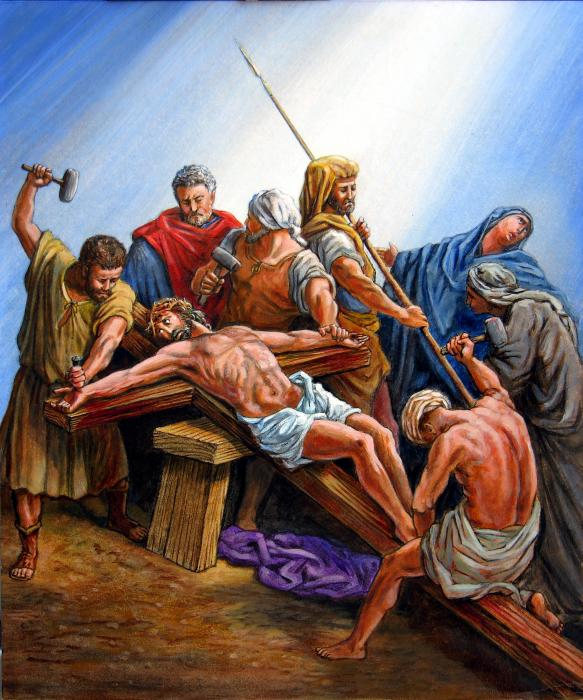 Jesus Nailed To The Cross Print by John Lautermilch