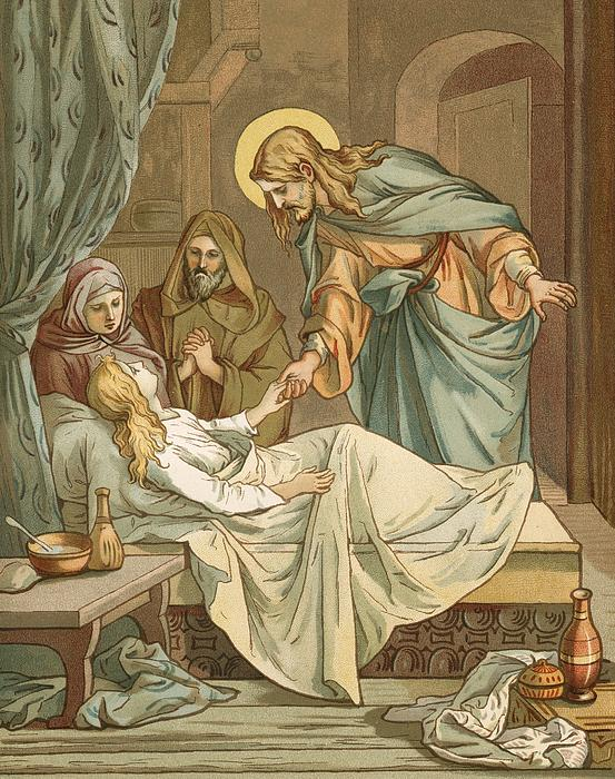 Jesus Raising Jairus's Daughter Print by John Lawson