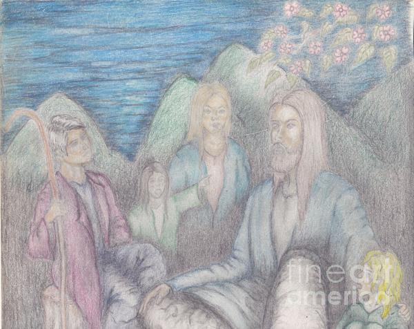 Jesus Teaching The Children Drawing  - Jesus Teaching The Children Fine Art Print