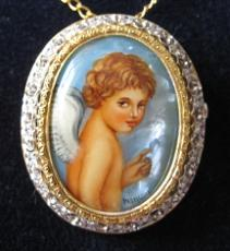 Jewelry-hand Painted Pendant And Brooch Mother Of Pearl Gold 18 Kt And Diamonds Angel Jewelry