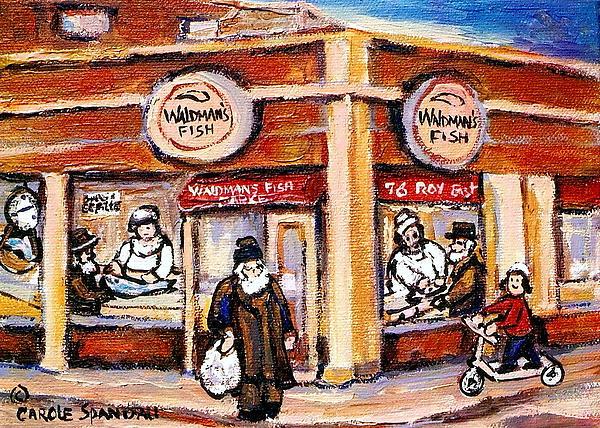 Jewish Montreal Vintage City Scenes Fish Market On Roy Street Print by Carole Spandau