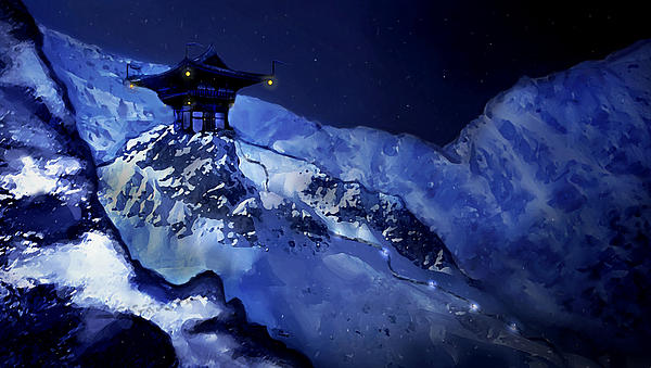 Jhinza Temple In The Mountains Print by Scott Harris