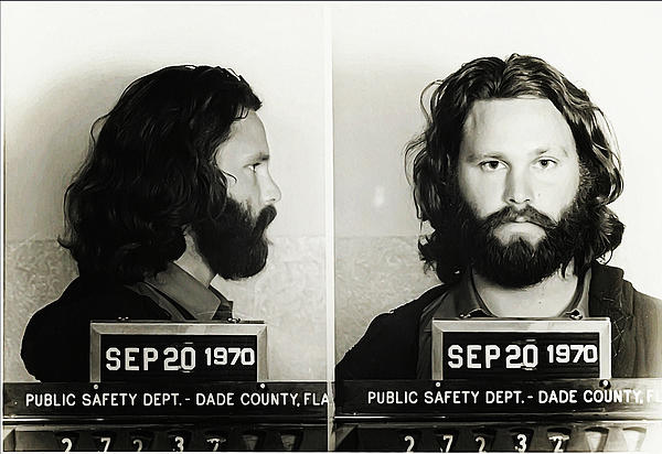 Jim Morrison Mugshot Print by Bill Cannon