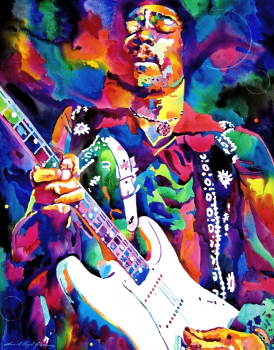 Jimi Hendrix Purple Print by David Lloyd Glover