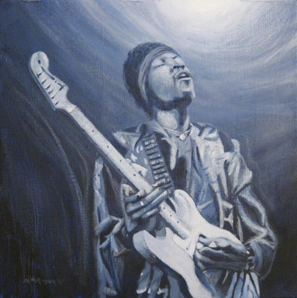 Jimi In The Bluelight Print by Michael Morgan