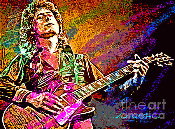 Jimmy Page Les Paul Gibson Print by David Lloyd Glover