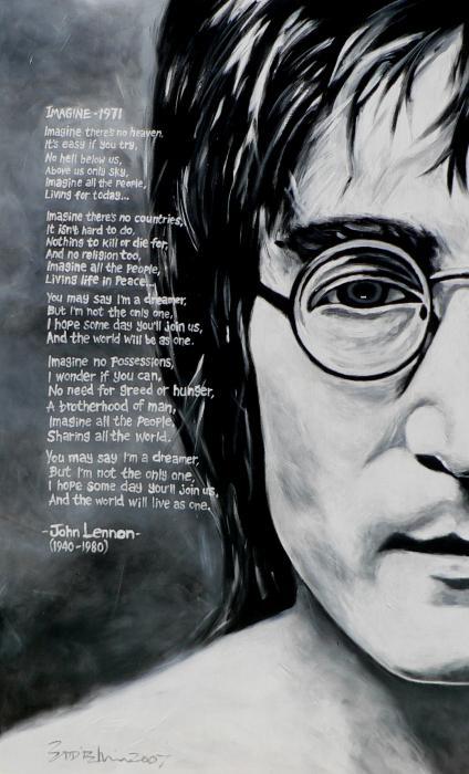 John Lennon - Imagine Print by Eddie Lim