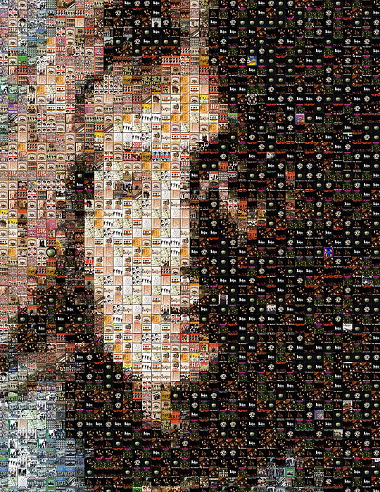 John Lennon Beatles Albums Mosaic Print by Paul Van Scott
