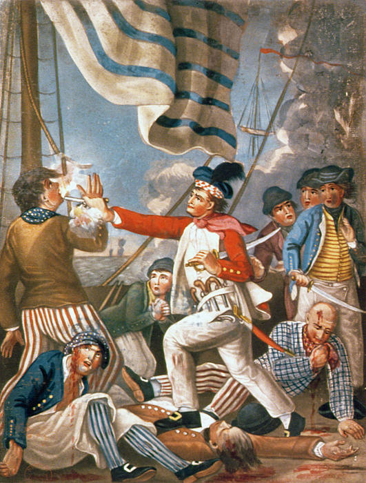 John Paul Jones Shooting A Sailor Who Had Attempted To Strike His Colours In An Engagement Print by John Collet