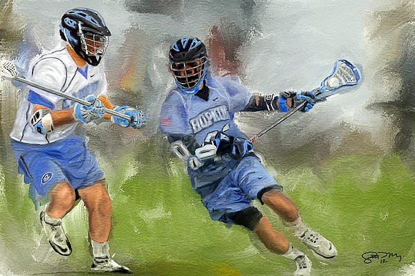 Johns Hopkins Lacrosse Attack Print by Scott Melby