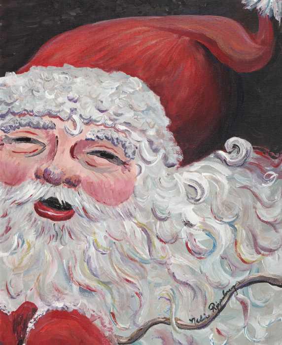 Jolly Santa Print by Nadine Rippelmeyer