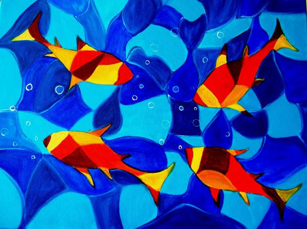 Joy fish abstract print by manjiri kanvinde