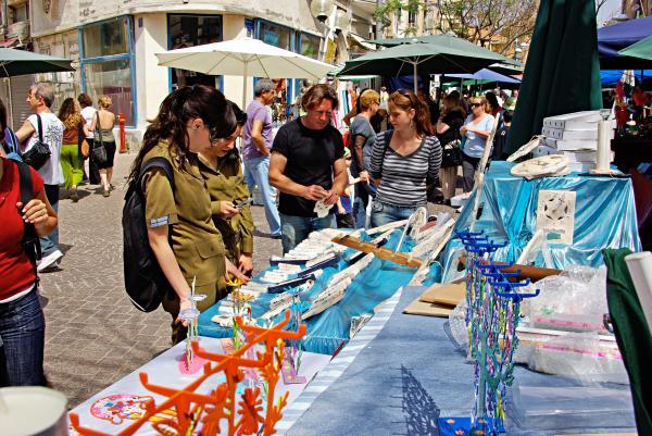 Judaica Artist Mario Pomerantz At Nachalat Benyamin Artist Market Print by Zalman Lazkowicz