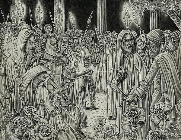 Judas In Garden Print by Vincnt Clark